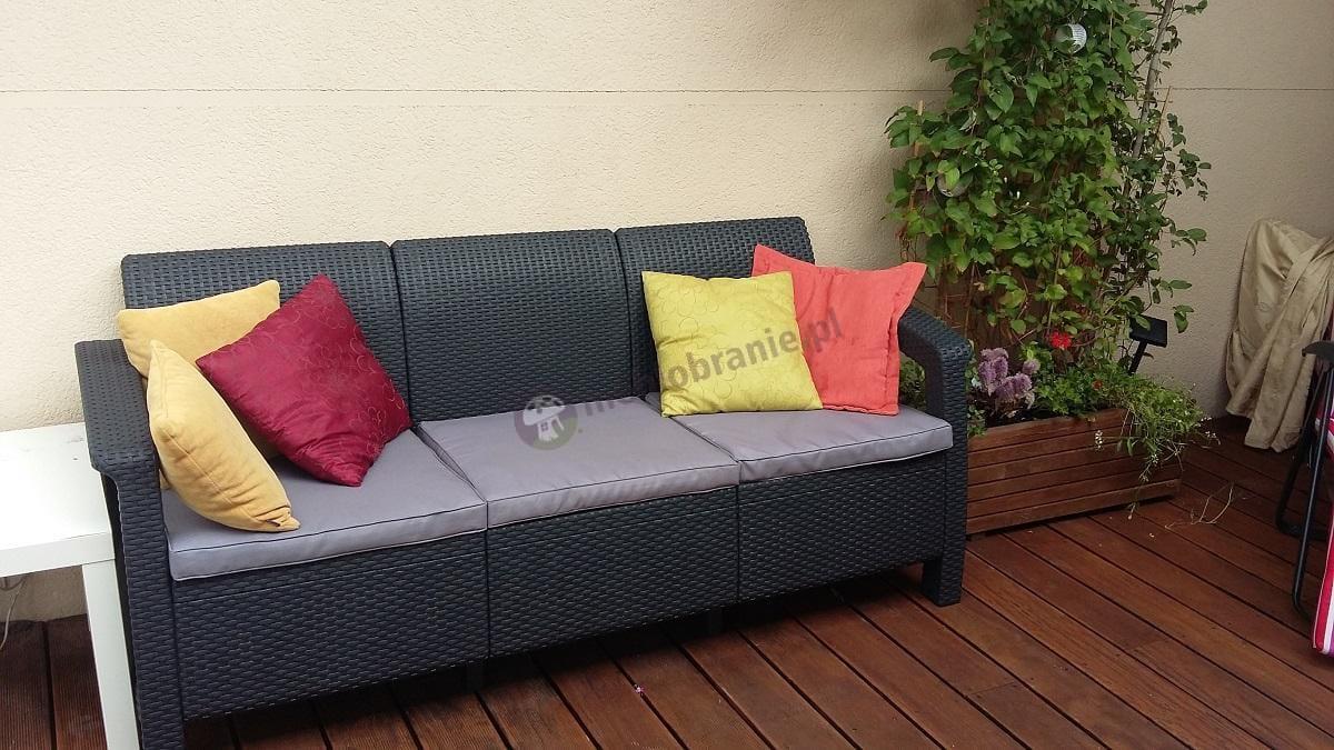 Meble ogrodowe Corfu producent Curver grafitowa sofa
