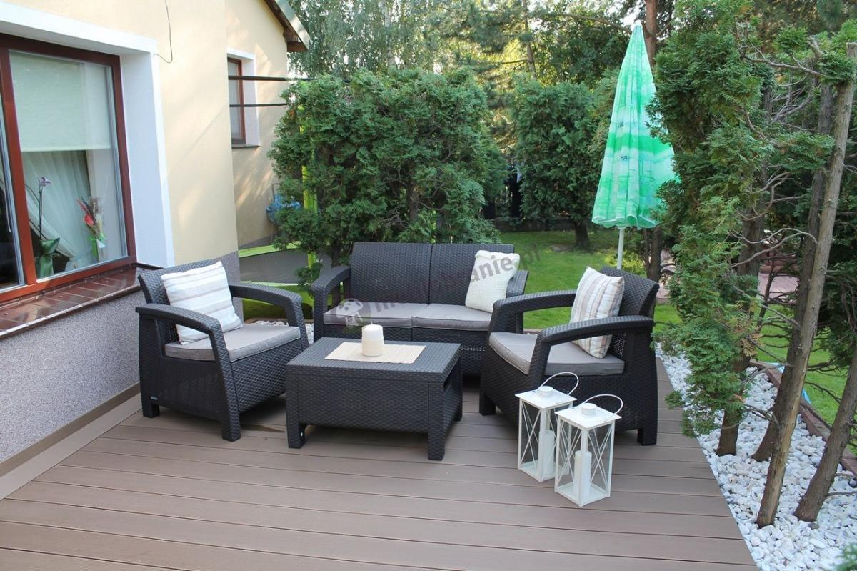 Meble ogrodowe Corfu Set technoratan look brązowe
