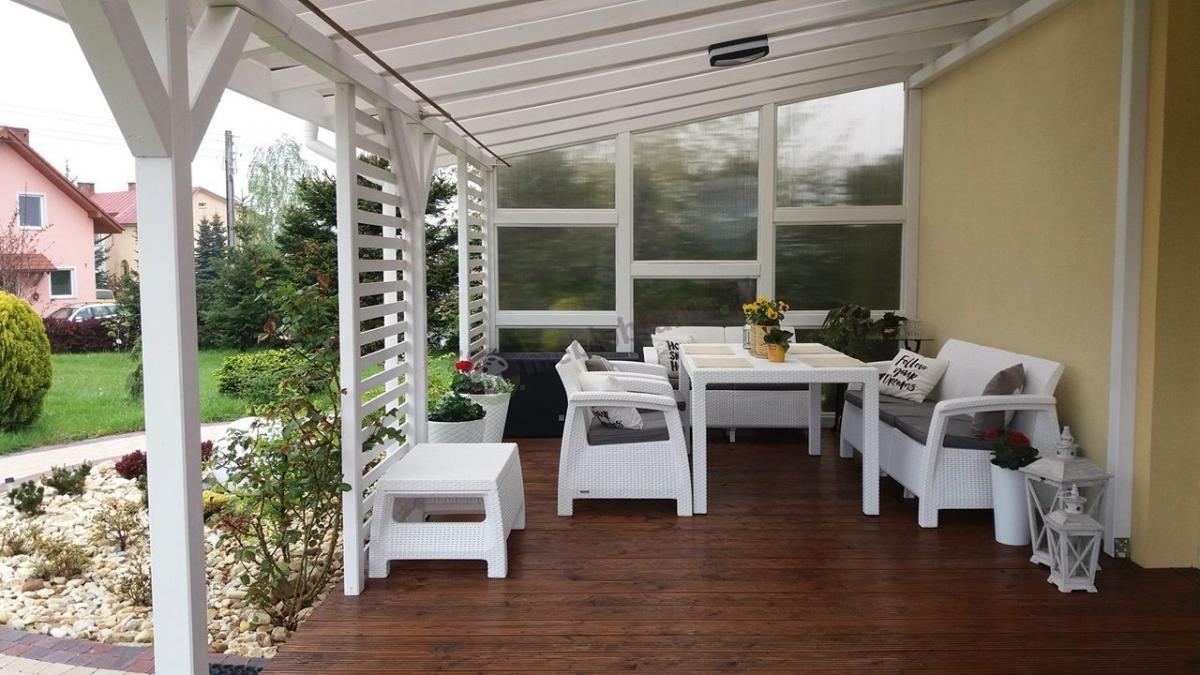 Meble ogrodowe Corfu Set Triple Max w połączeniu z dużym stołem ogrodowym Melody 160x95cm