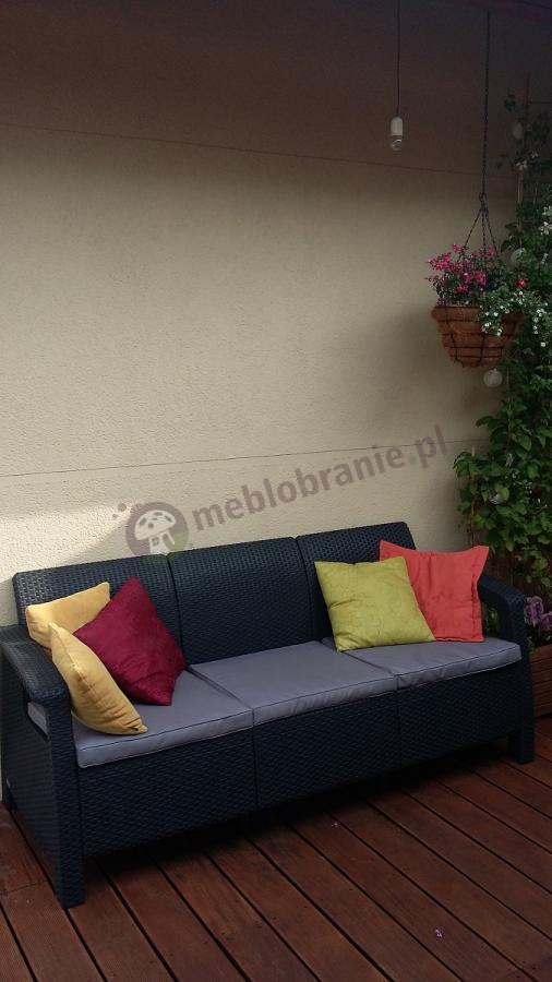 Meble ogrodowe Corfu technorattan sofa uzupełniona jaśkami