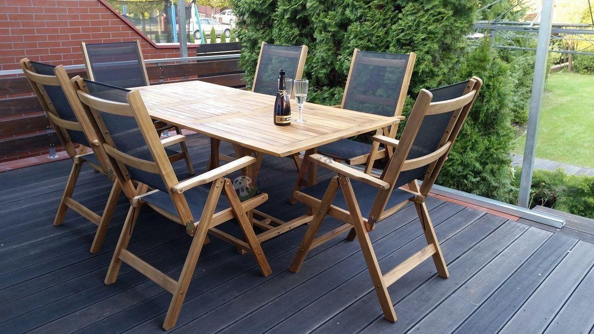 Meble ogrodowe drewniane na taras 200x100 cm z 6 krzesłami textiline