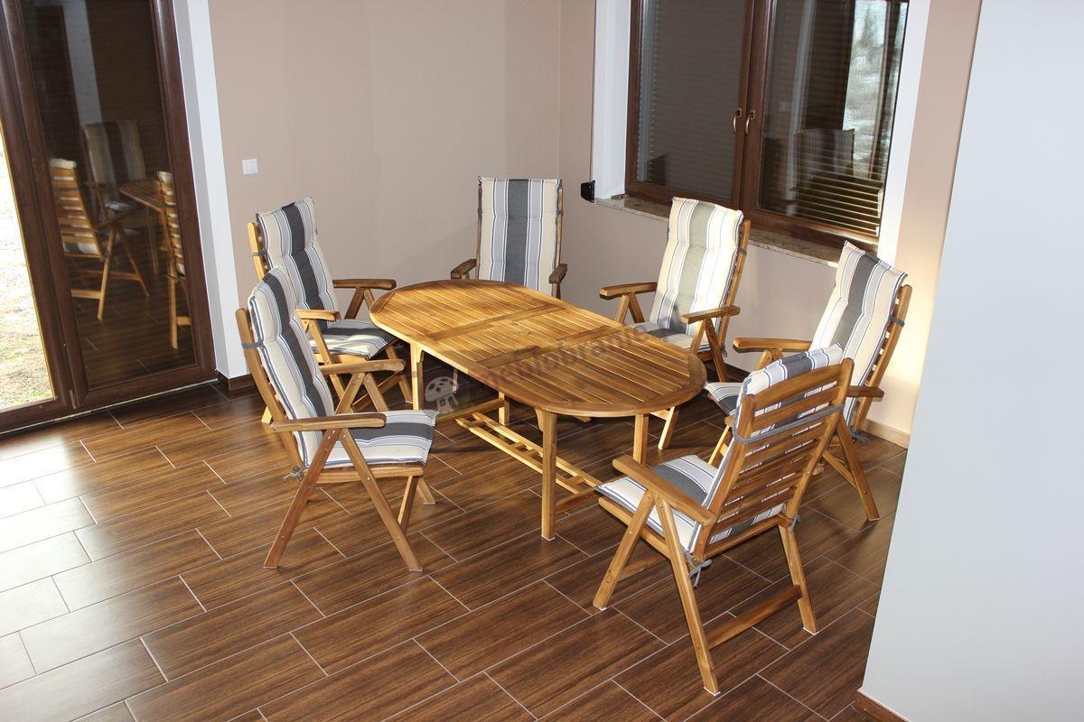 Meble ogrodowe drewniane z poduszkami Tripoli Sand