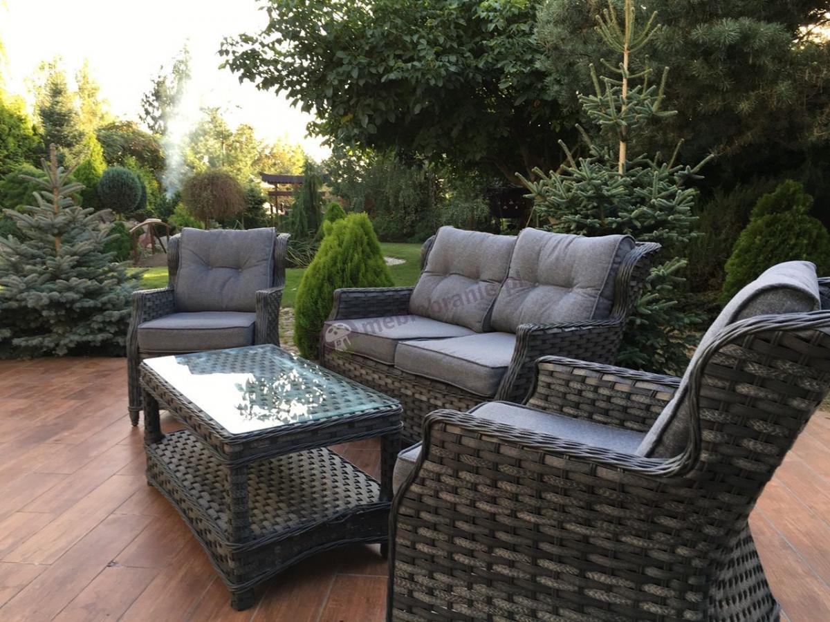 Meble ogrodowe klasyczne technorattan zestaw Trivento Grey