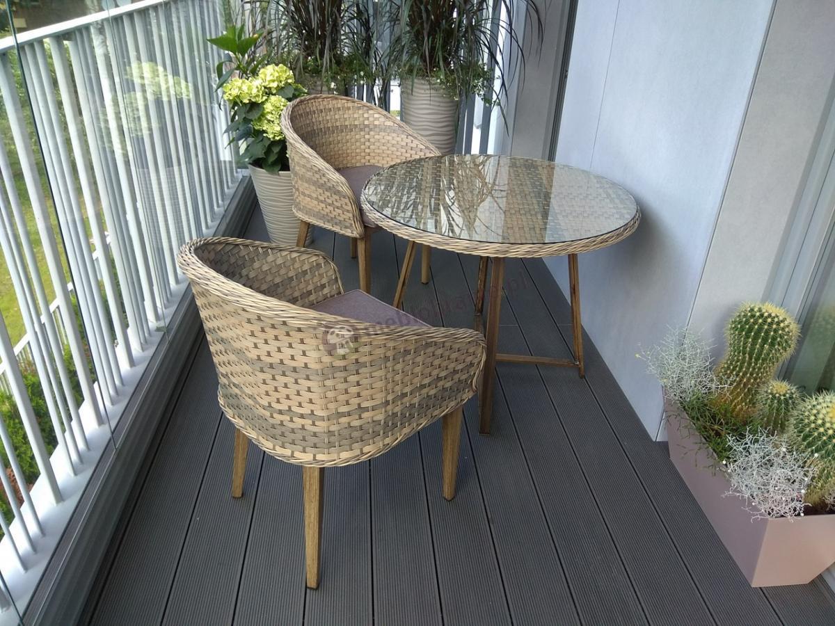 Meble ogrodowe okrągły stół i fotele technorattan z szybą i poduszkami Contito