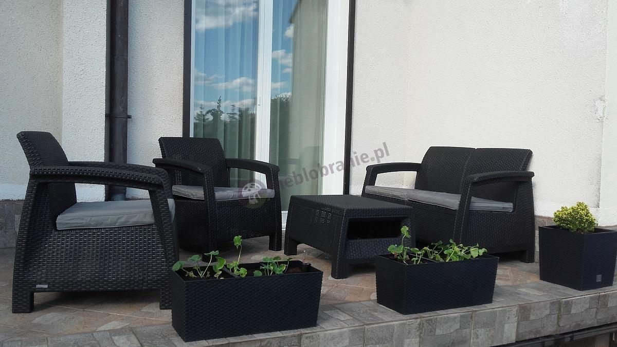 Meble ogrodowe plastikowe tanie Curver/Keter/Allibert - Corfu Set grafitowy z szarymi poduszkami