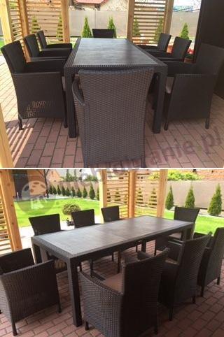 Meble ogrodowe stołowe technorattan efekt w kolorze brązowym