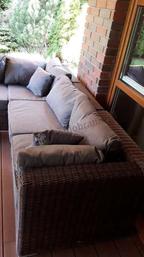 Meble ogrodowe technoratan wygodny komplet z poduszkami