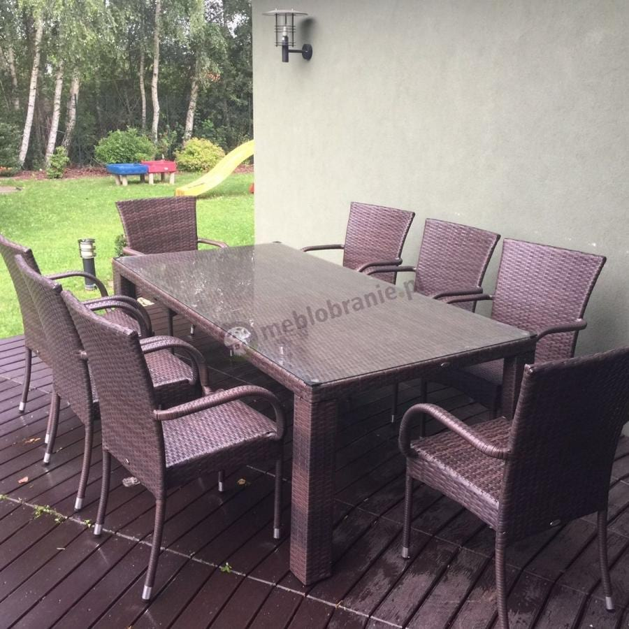 Meble ogrodowe technorattan stół 8 krzeseł Nassico