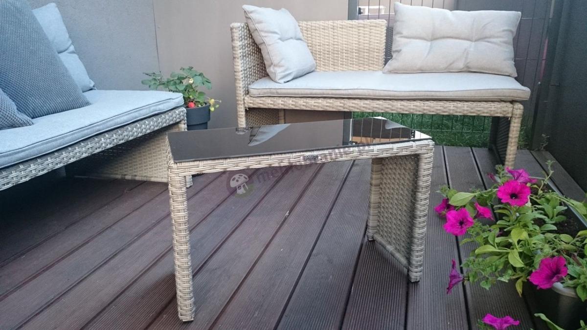 Meble ogrodowe technorattan szary z oryginalnie wykończoną plecionką