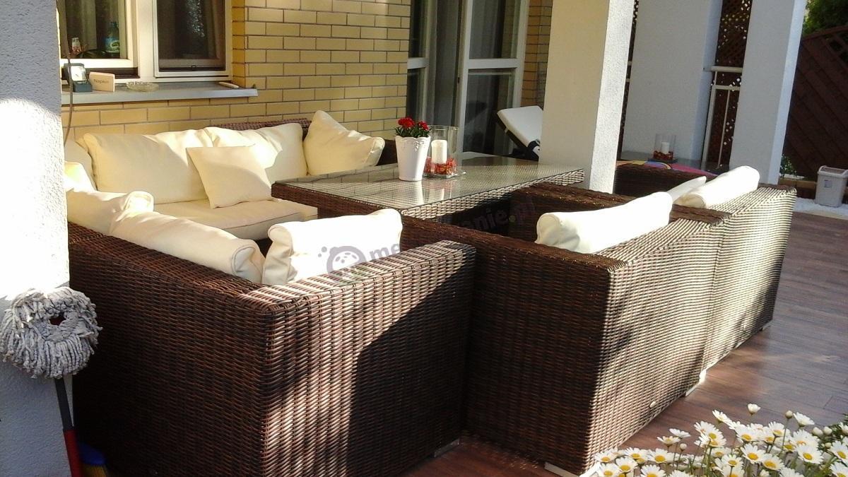 Meble ogrodowe wypoczynkowe technorattan ze stołem 65 cm