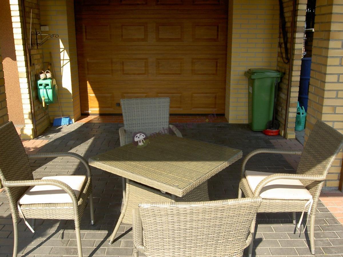 Meble ogrodowe z kwadratowym stołem technorattan Rimini Lugo