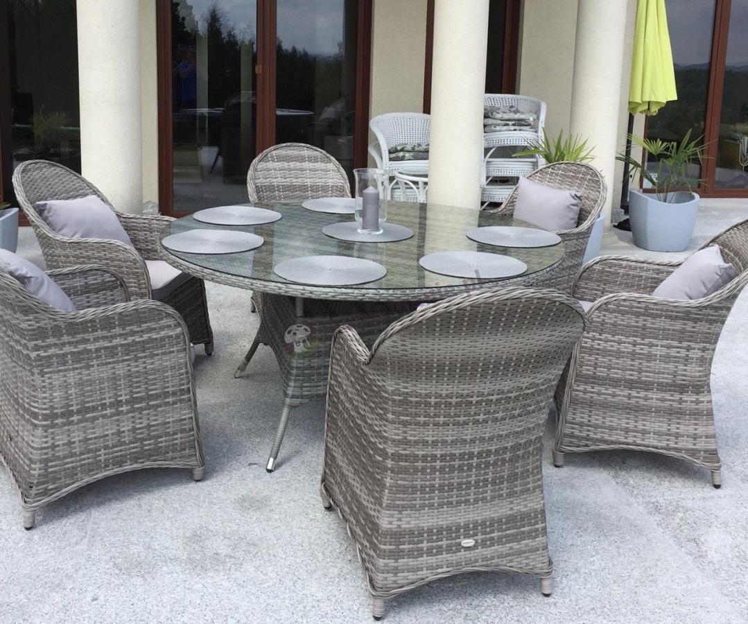 Meble ogrodowe z okrągłym stołem dla 6 osób Altito