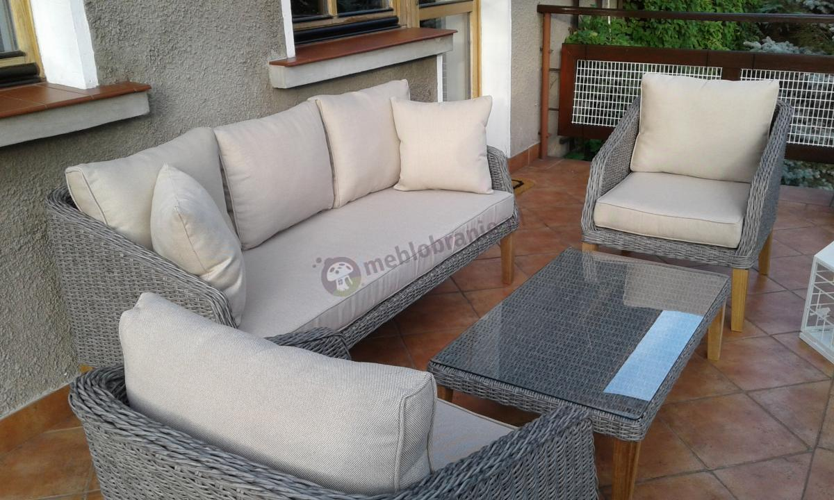 Meble ogrodowe z sofą dla 3 osób w stylu skandynawskim drewniane nogi