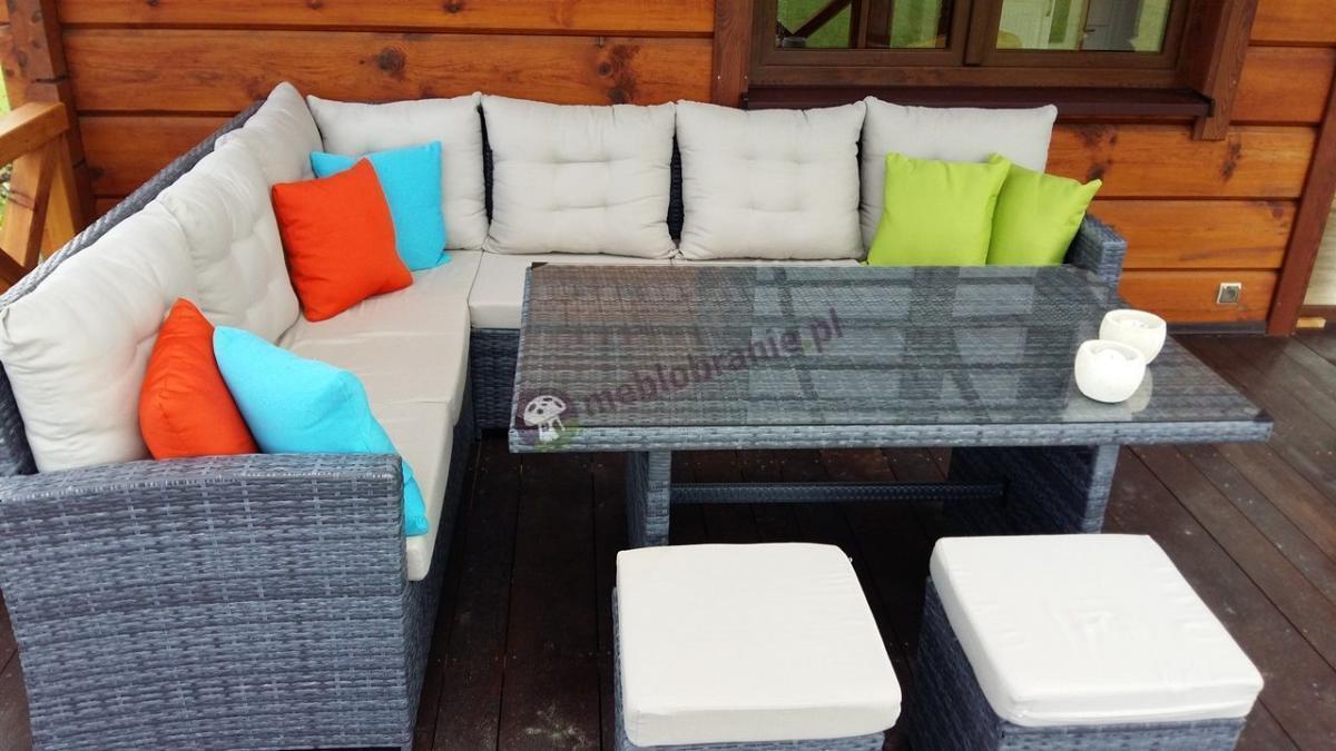Meble ogrodowe z technorattanu szare z kolorowymi poduszkami