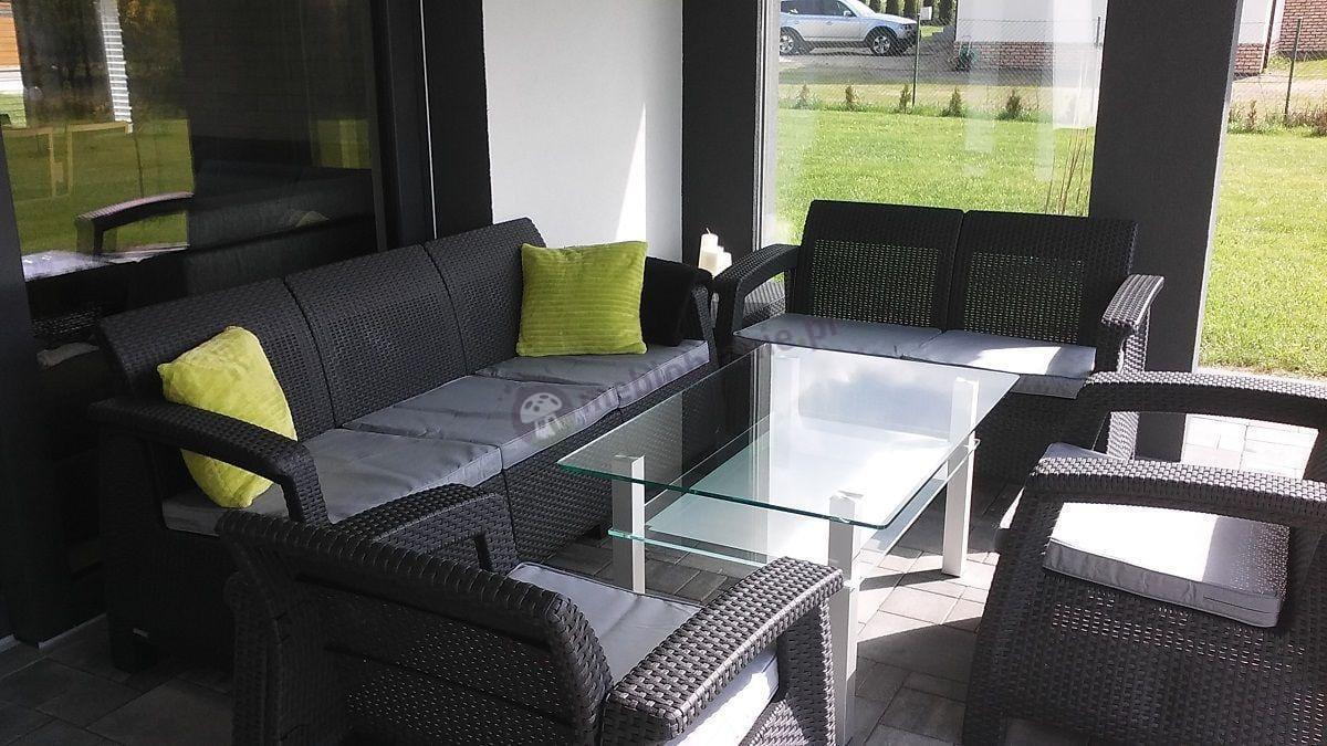 Meble ogrodowe zestaw Corfu grafitowy używany ze szklanym stołem