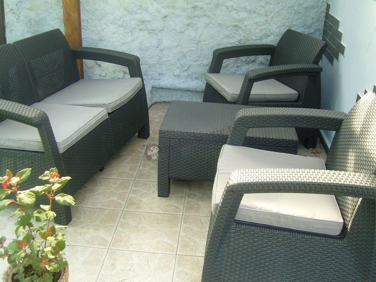Meble ogrodowe zestaw Corfu na przydomowym tarasie
