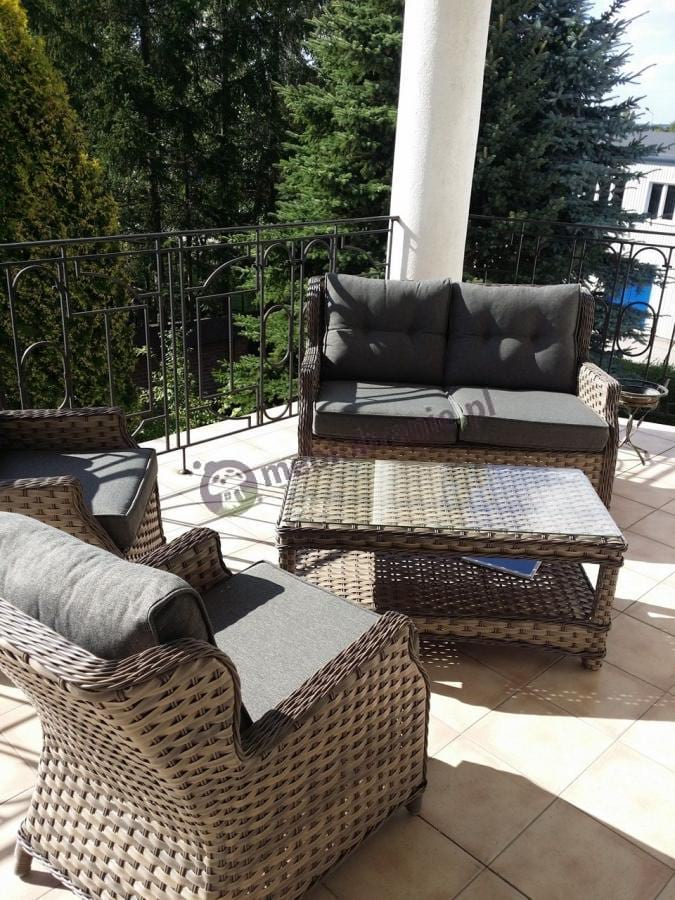 Meble technorattan luksusowy zestaw na balkon Trivento Melange
