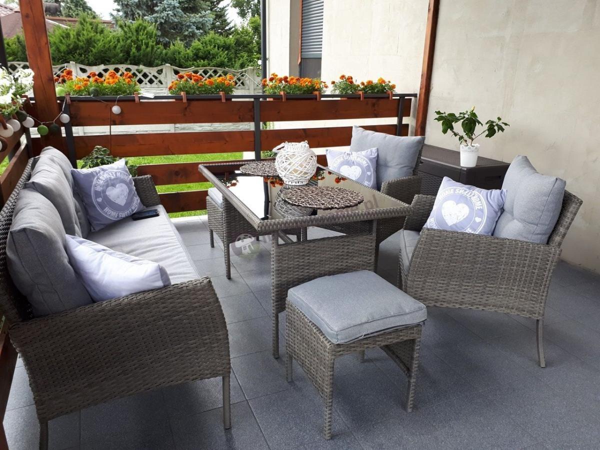 Meble technorattan na taras Cortina Grey z dekoracyjnymi poduszkami
