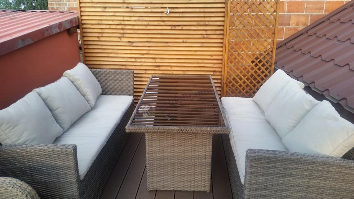 Meble technorattan stołowe na balkon narożnik Caprice Caffe