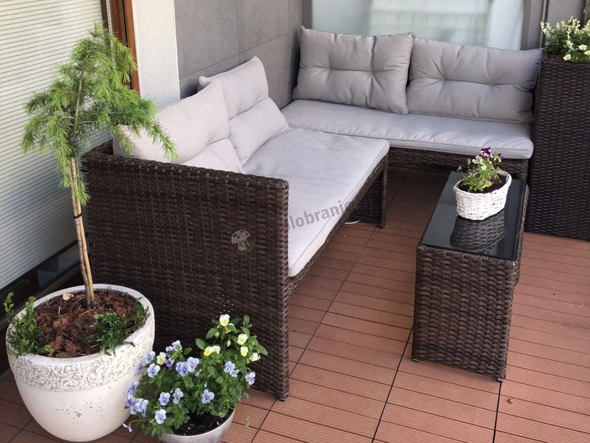 Meble z technorattanu na balkon brązowe narożnik ze stolikiem