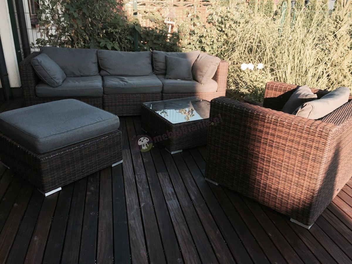 Modułowe meble ogrodowe technorattan - sofa, pufa i fotel