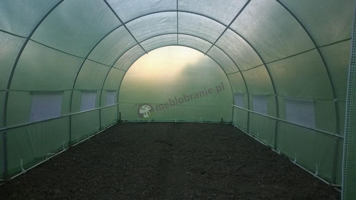 Namiot ogrodowy metalowy z folią wzmacnianą zieloną siatką