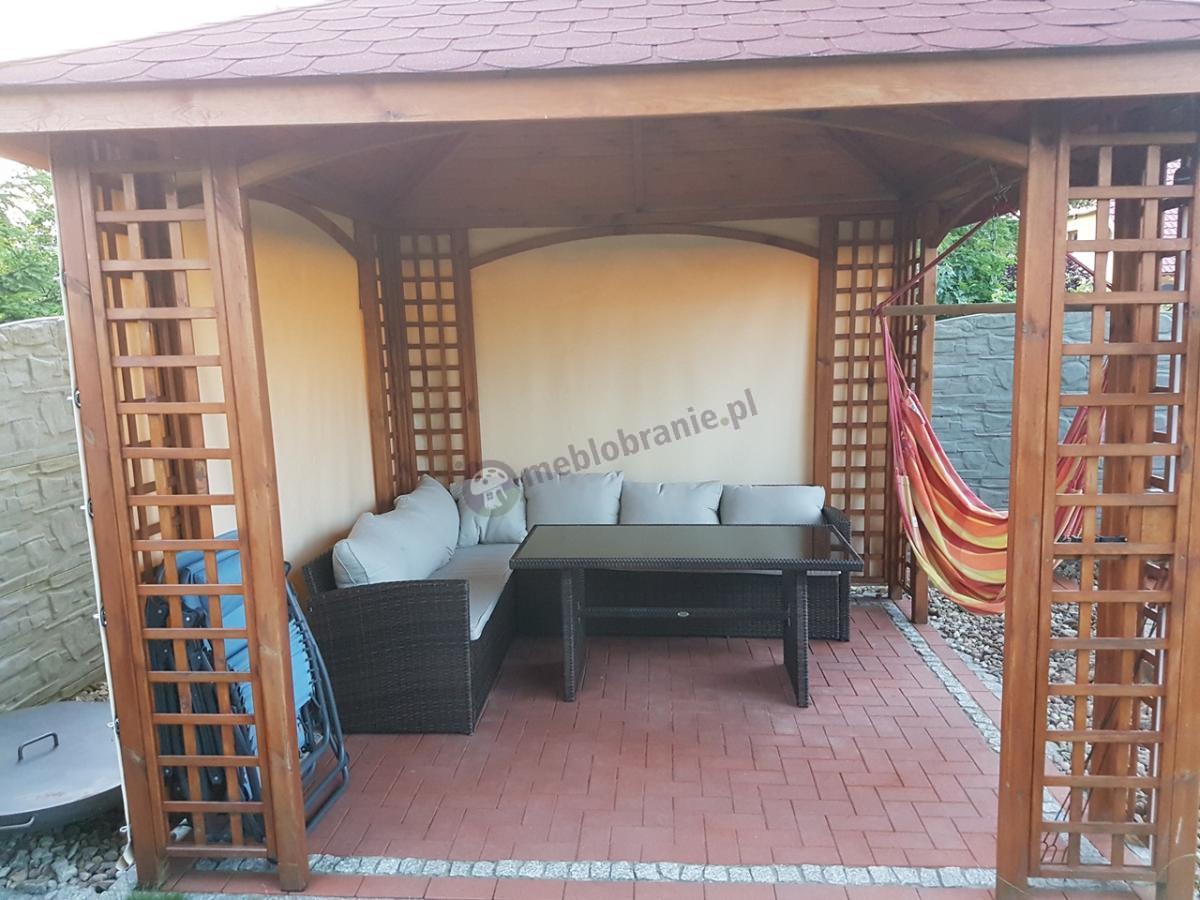Narożna kanapa ogrodowa na taras z wysokim stołem obiadowym Caprice