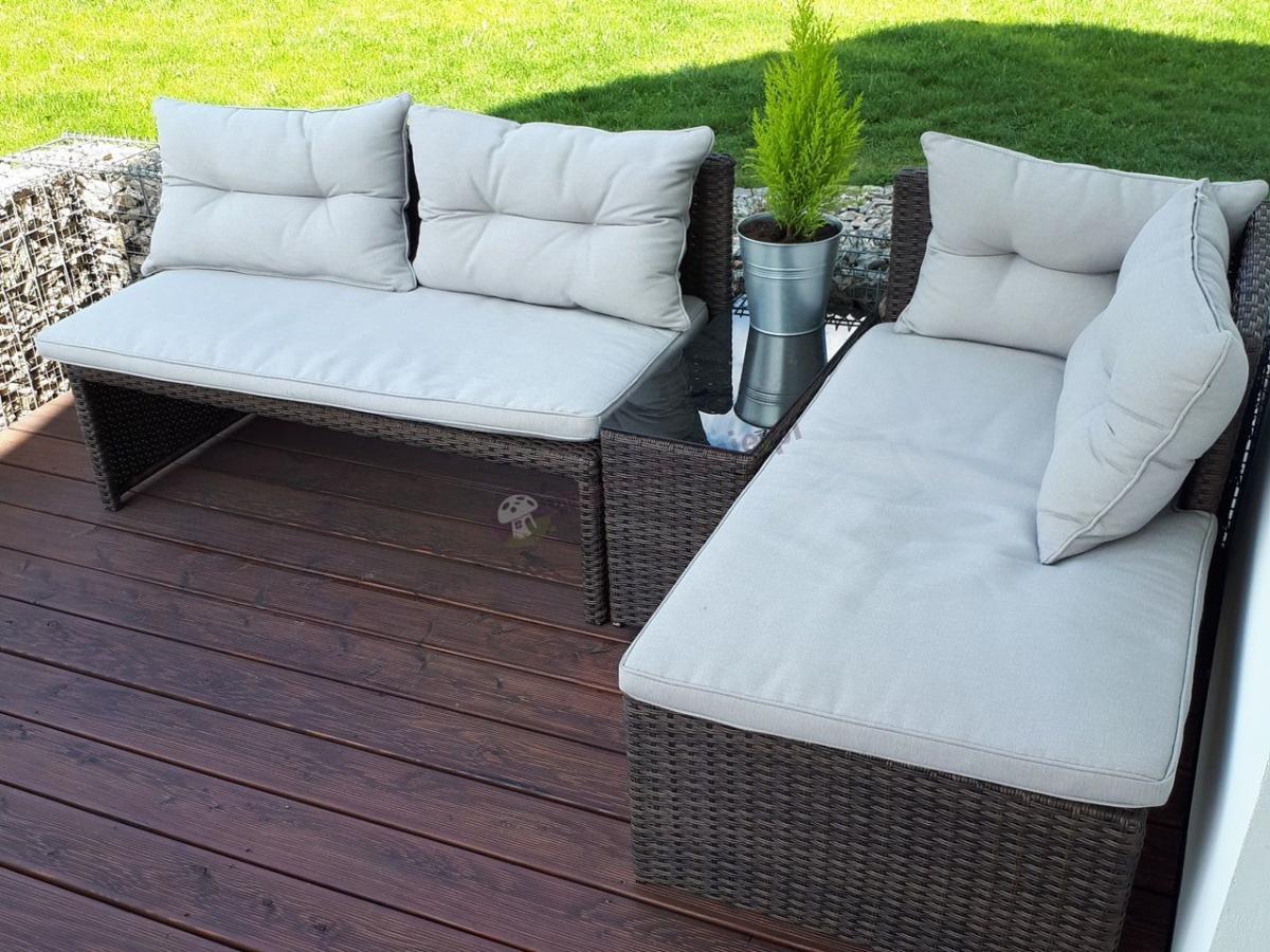 Narożna sofa ogrodowa technorattan z niskim stolikiem