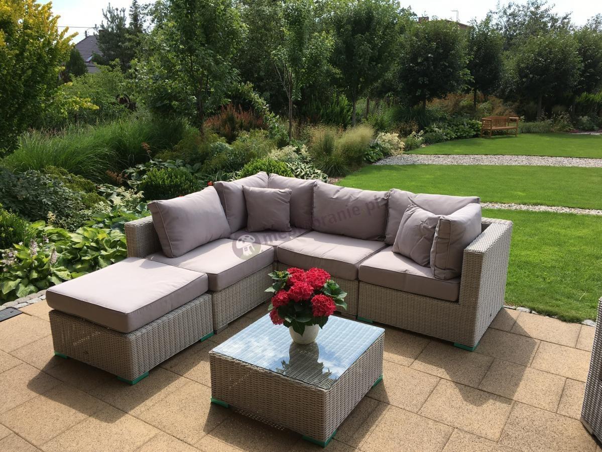 Narożna sofa ogrodowa z kwadratowym stolikiem Ligurito VII