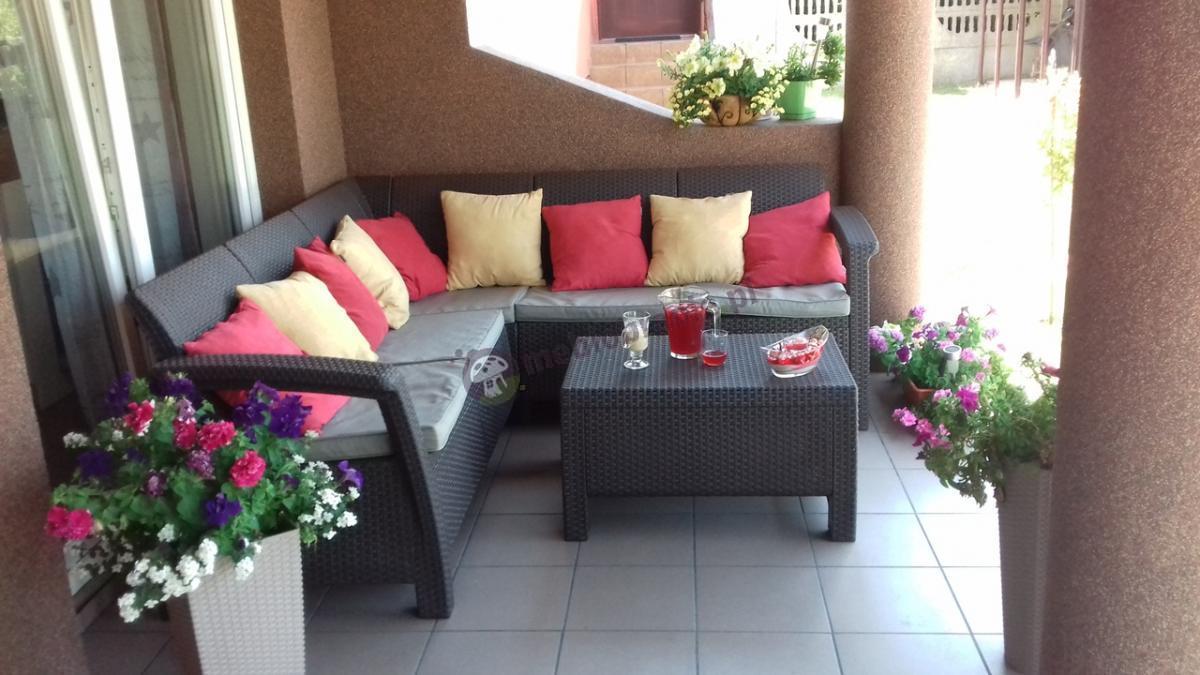 Narożnik l-kształtny do ogrodu tania sofa narożna Curver Corfu Relax