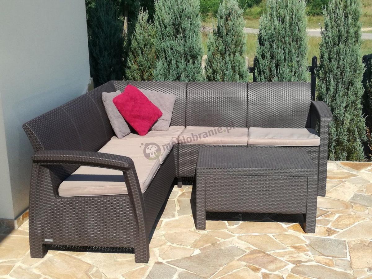 Narożnik meble ogrodowe Corfu Relax Set brązowy