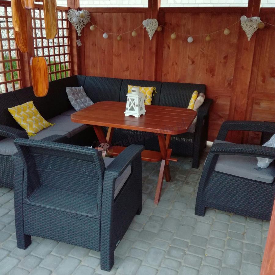 Narożnik ogrodowy technorattan z drewnianym stolikiem Corfu Relax Duo