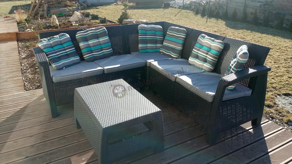 Narożniki ogrodowe rattanowe Corfu Relax Set z poduszkami na siedziska