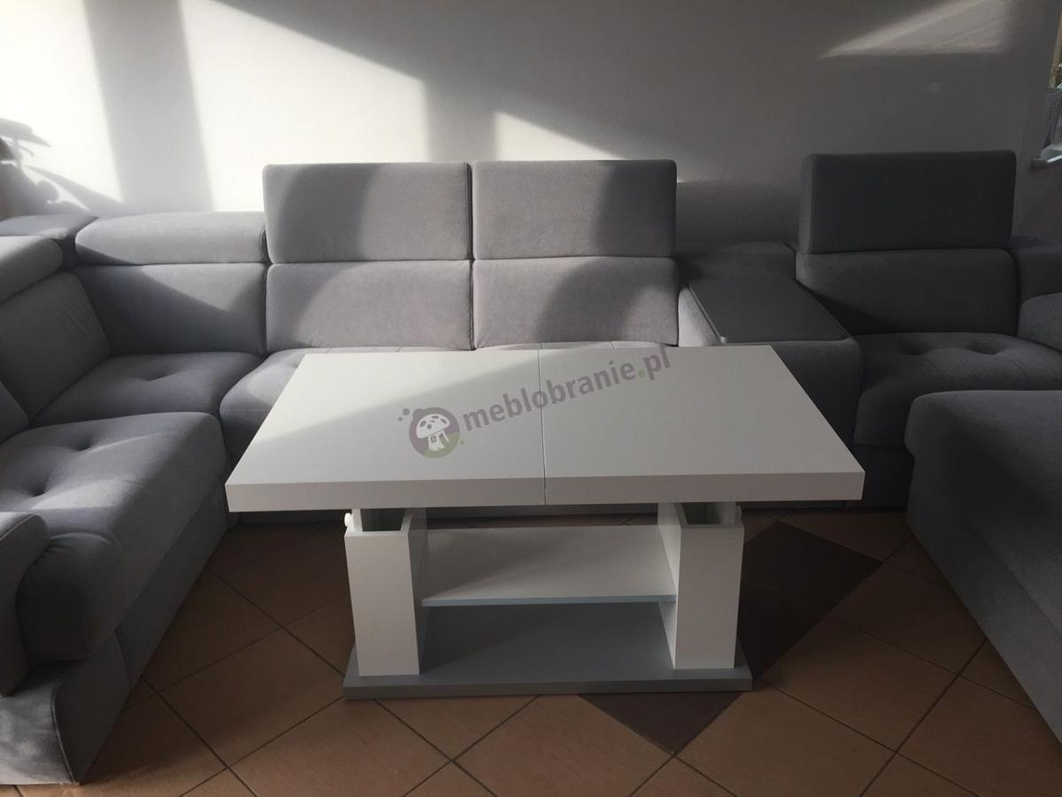 Nowoczesna ława rozkładana do salonu na wysoki połysk biała