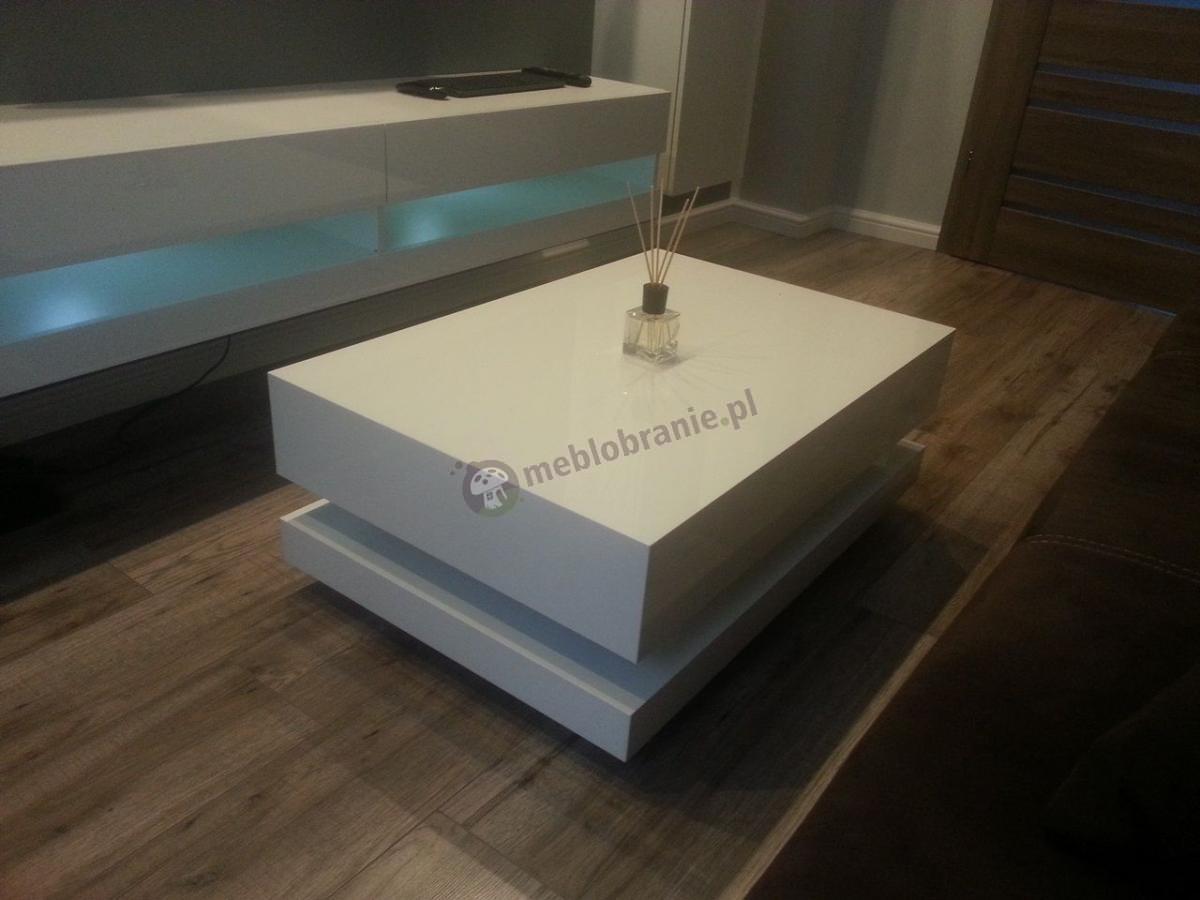 Nowoczesna ława stolik do salonu w białym połysku