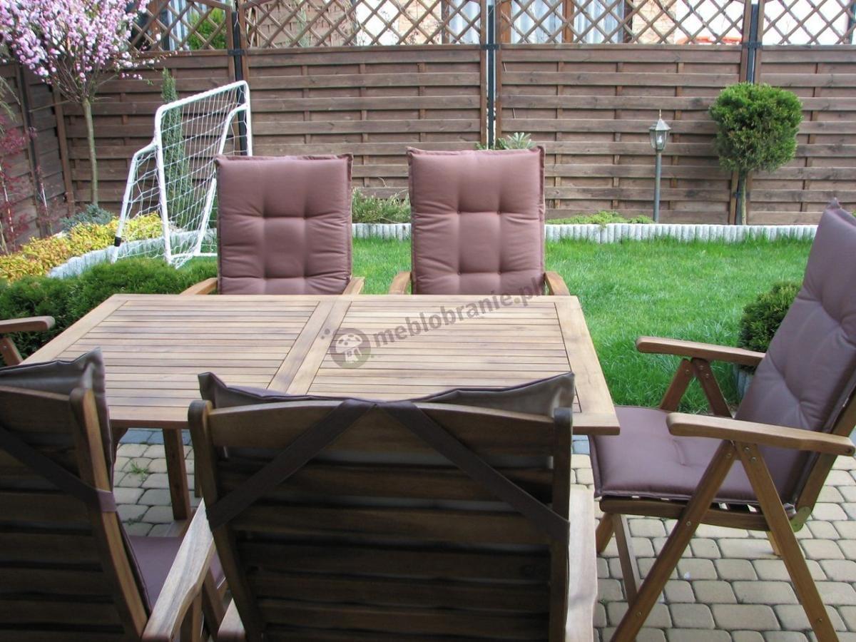 Nowoczesne meble ogrodowe drewniane z pasującymi poduszkami