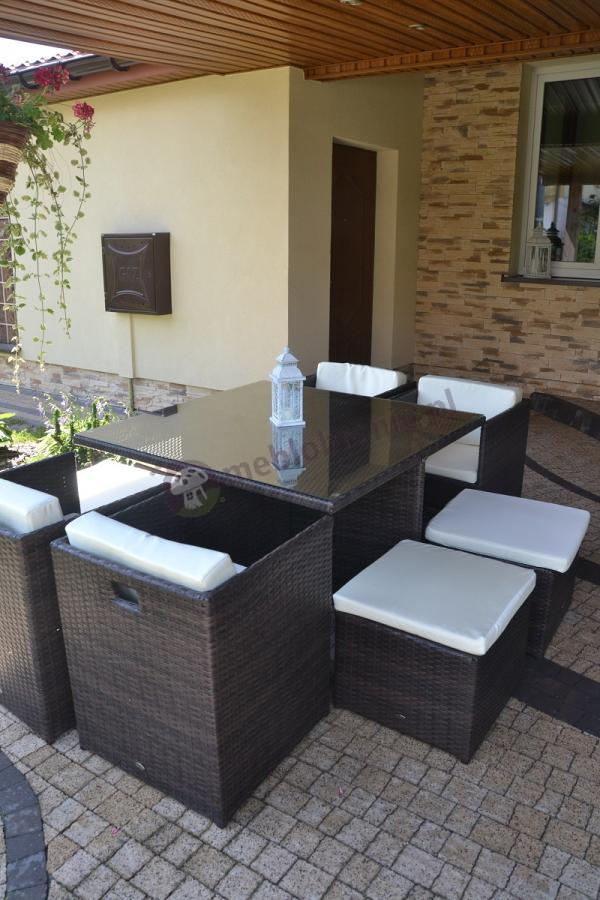 Nowoczesne meble ogrodowe z technorattanu składane w kostkę