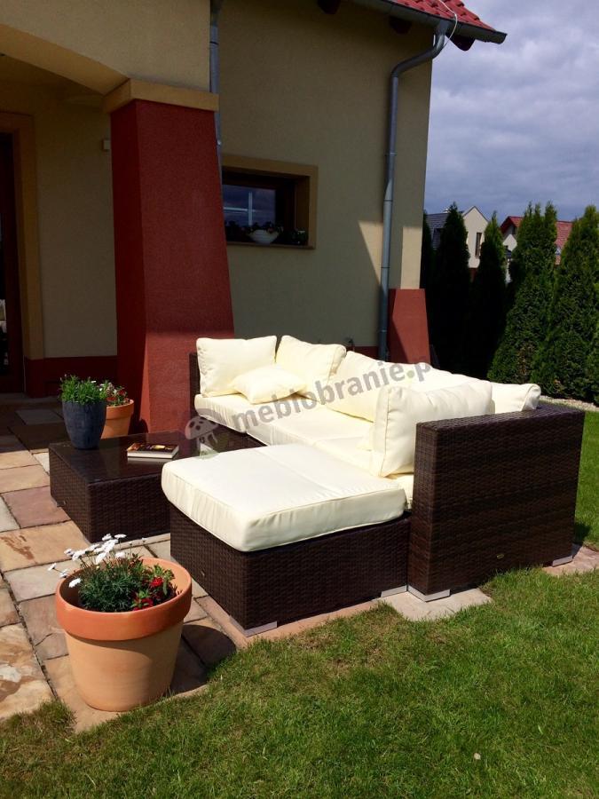 Nowoczesne meble ogrodowe z technorattanu sofa i stolik