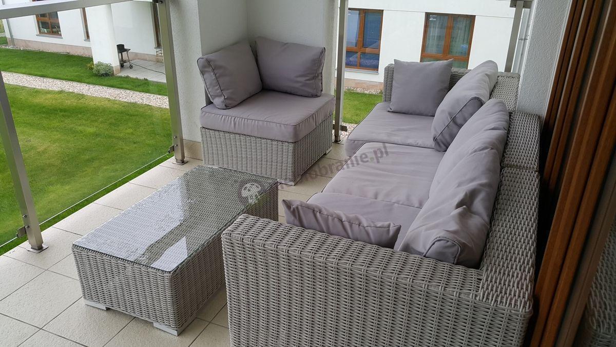 Nowoczesne meble ogrodowe z technorattanu z prostokątnym stolikiem