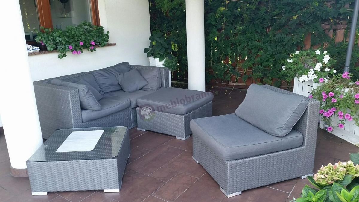 Nowoczesne meble technoratanowe z poduszkami szarymi Nilamito
