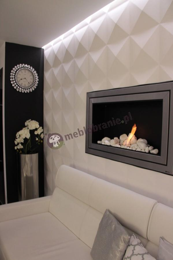 nowoczesne panele cienne 3d gipsowe w eleganckim salonie aran acje. Black Bedroom Furniture Sets. Home Design Ideas