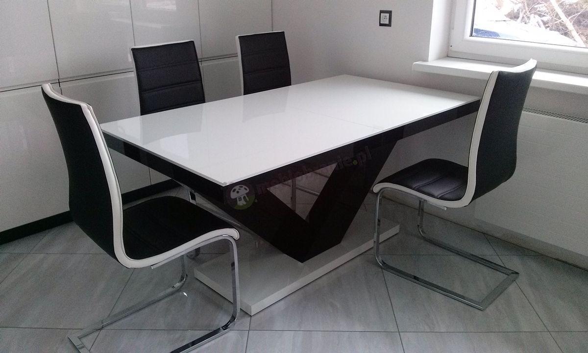 Nowoczesny biało-czarny stół do jadalni Victoria