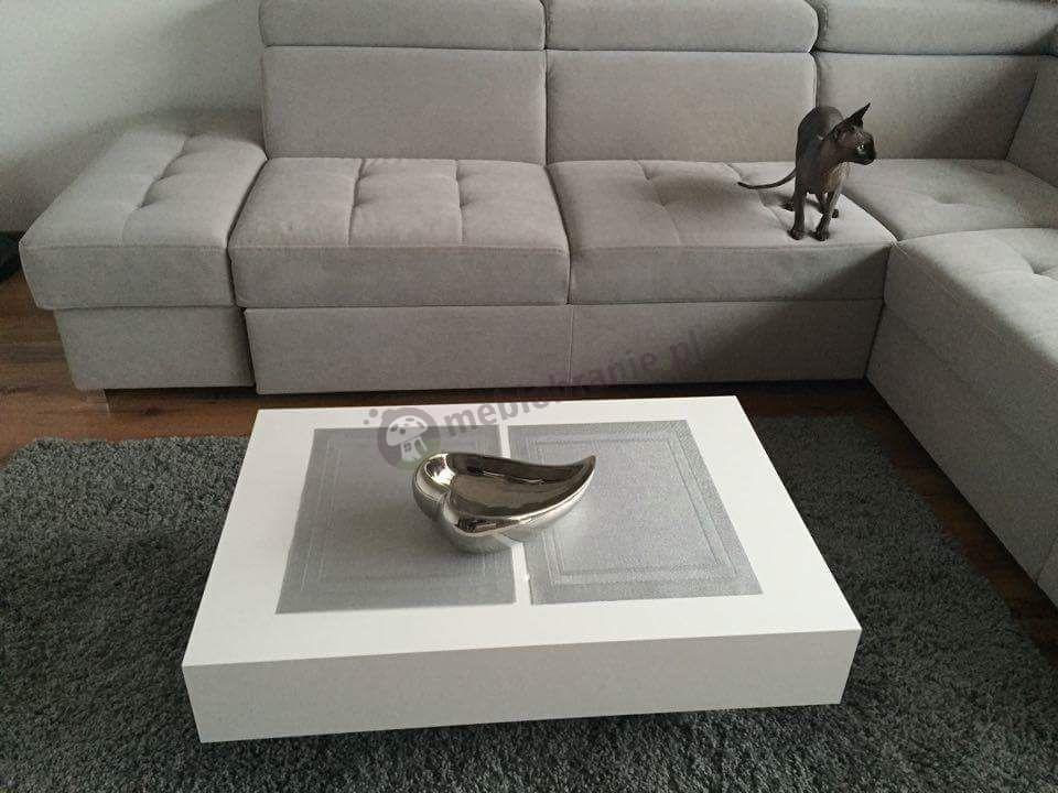 Nowoczesny biały stolik kawowy Pixel X 120 cm