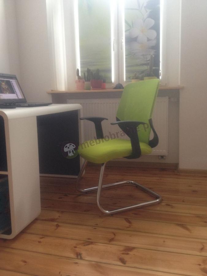 Nowoczesny fotel do biurka na płozie zielony