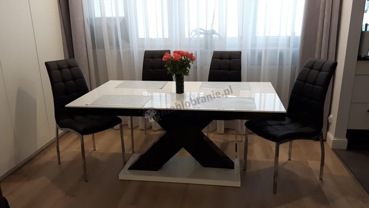 Nowoczesny stół do jadalni na wysoki połysk rozkładany