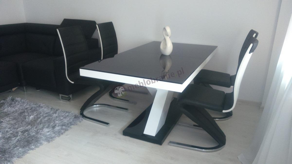 Nowoczesny stół rozkładany czarno-biały wysoki połysk