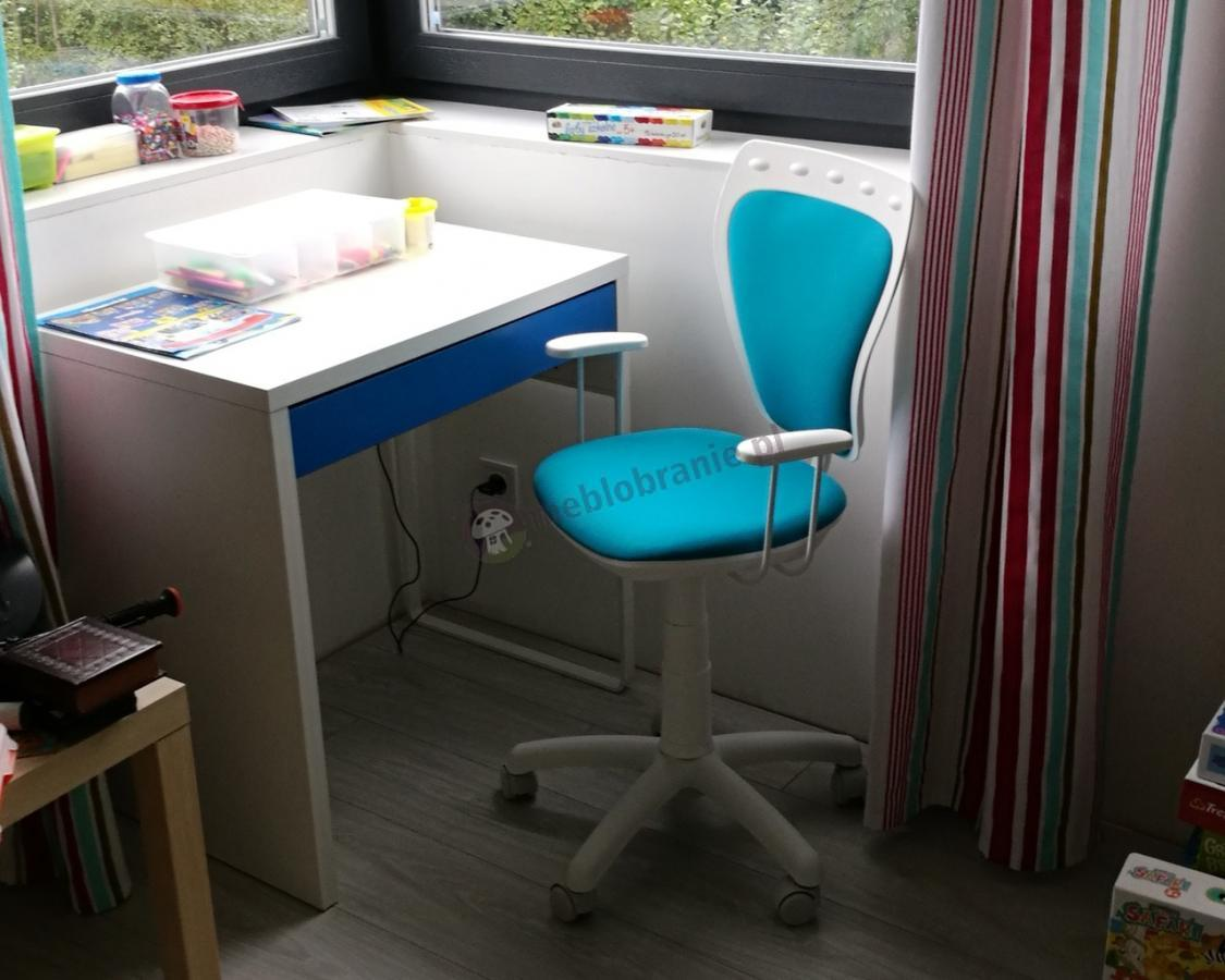 Obrotowe niebieskie krzesełko dla dziecka Ministyle do odrabianie lekcji