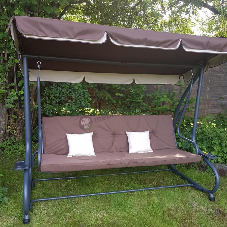 Ogrodowa ławka stalowa  z jaśkami i baldachimem tania Cento