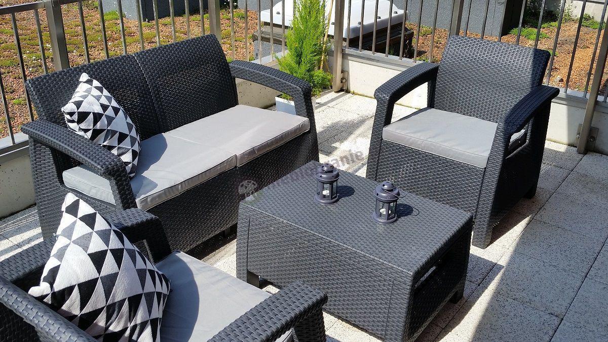 Ogrodowe meble plastikowe na balkon i taras - Corfu Set Curver grafit