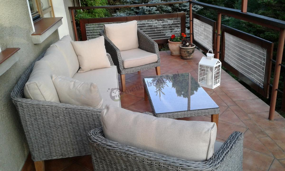 Ogrodowe meble z drewnianymi nogami skandynawski wzór Gambito